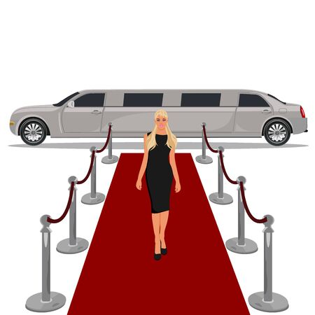 wealthy lifestyle: limousine with red carpet concept, flat design, illustration Illustration