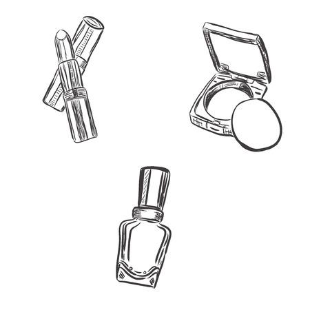 nail polish bottle: set of makeup objects, sketch design, vector illustration