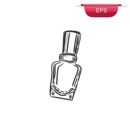 nail polish bottle: nail varnish, polish, sketch design, vector illustration Illustration