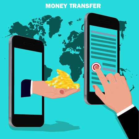 mobile banking: money transfer, flat design, vector illustration Illustration