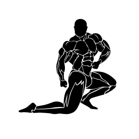 vector illustration of athlete icon, strongman, bodybuilding concept