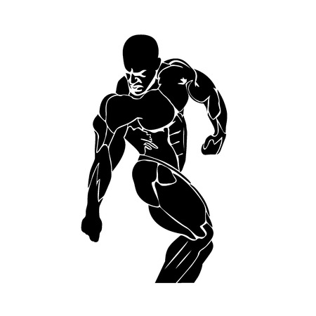 strongman: vector illustration of athlete icon, strongman, bodybuilding concept