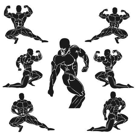 set of bodybuilding icons, muscles, vector illustration