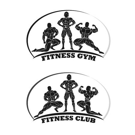 fitness club emblem, bodybuilding concept, vector illustration Ilustração