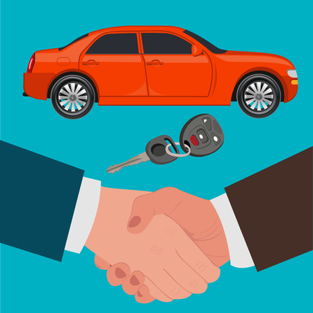 dealership: car selling, loan, seller, dealership, flat design, vector illustration Illustration