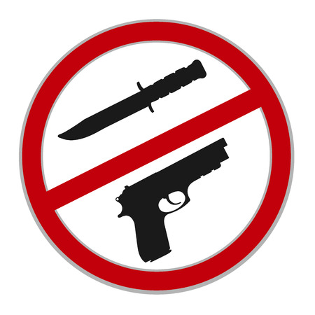 weapons: no weapons allowed sign, vector illustration