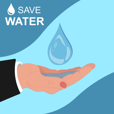 environmental awareness: save water concept, template, banner, vector illustration