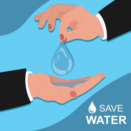 environmental awareness: save water concept, template, banner, vector illustration, flat design
