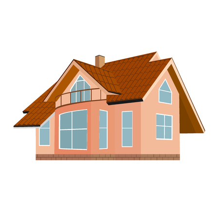 home, house, brown roof, vector illustration, flat design