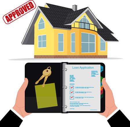 hypotheek, lening goedgekeurd concept, vector illustratie Stock Illustratie