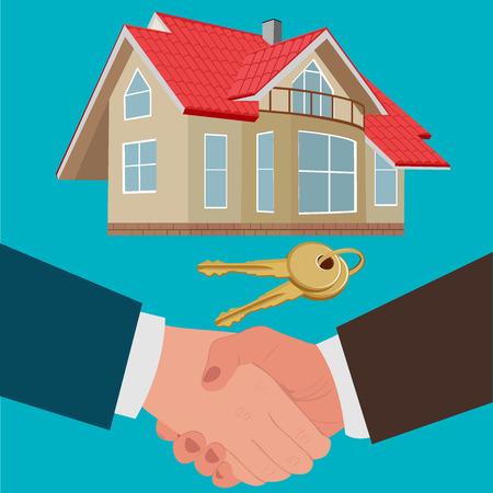 onroerend goed te verkopen concept, hypotheek of lening, platte ontwerp, vector illustratie