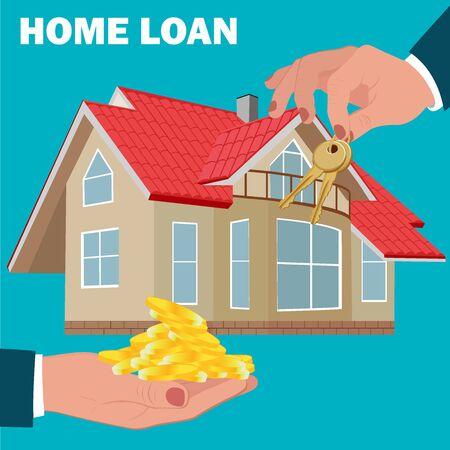 home loan: home loan concept, mortgage, flat design, vector illustration