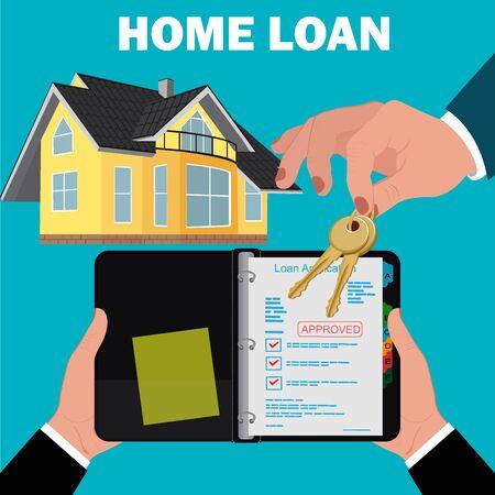 home loan: home loan application concept, mortgage, flat design, vector illustration