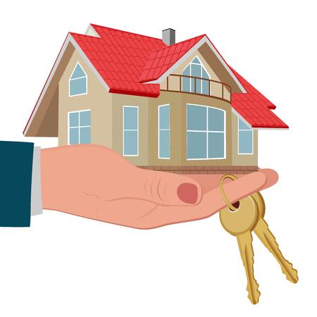 hand holding house: hand holding house with keys, vector illustration Illustration