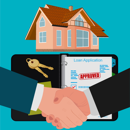 buyers: mortgage contract concept, flat design, vector illustration