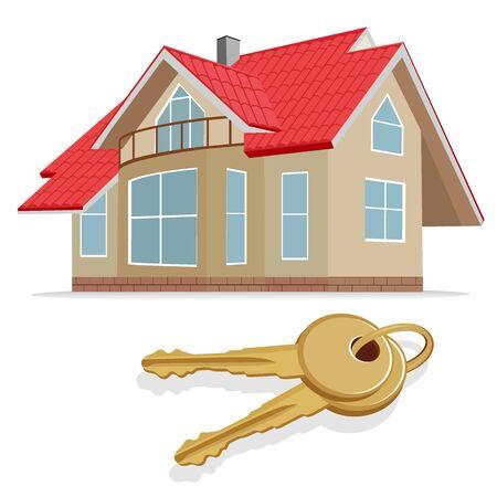 real estate, home, keys, vector illustration