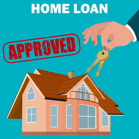 woningkrediet goedgekeurd concept, hypotheek, platte ontwerp, vector illustratie