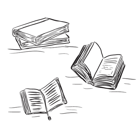 books in sketch style, vector illustration