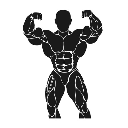 Bodybuilding and powerlifting concept, pumping up, work out, icon, vector illustration