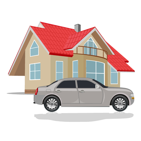 house with car, vector illustration