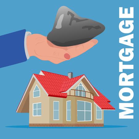 burden: mortgage burden concept, hand with stone over home, vector illustration Illustration