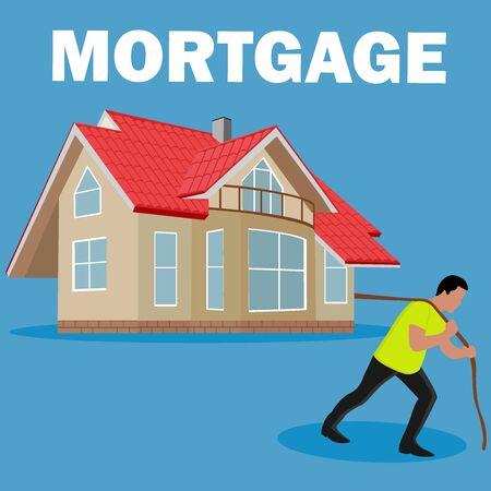 mortgage burden concept, vector illustration Illustration