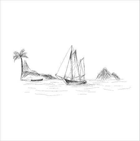 boat and sea, sketch style, vector illustration