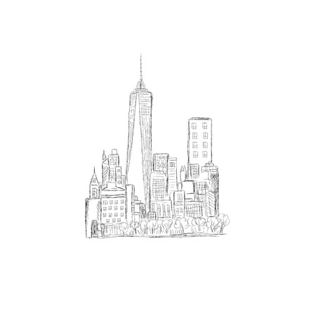 new york skyline: city skyline, New York, sketch design, vector illustration