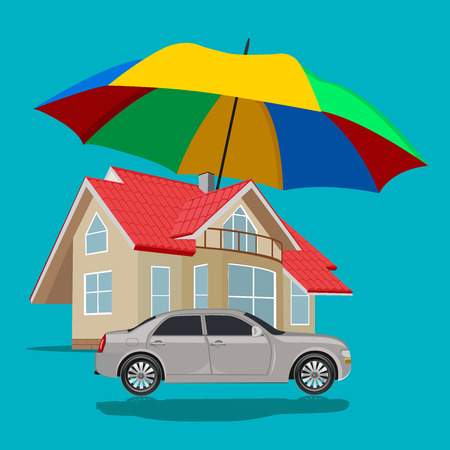 home protection: car and home protection, insurance, flat design, vector illustration