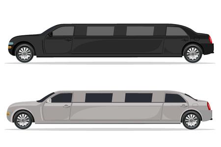 limousine: white and black limousine, design element, flat, vector illustration Illustration