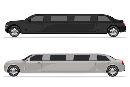 wit en zwarte limousine, design element, vlak, vector illustratie Vector Illustratie