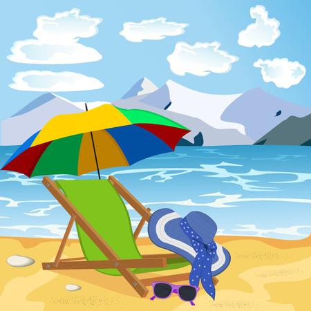 swim cap: vocation, travel concept, beach, vector illustration