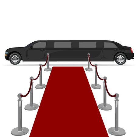 red carpet background: black limousine and red carpet, design element, flat, vector illustration