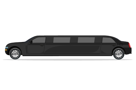 zwarte limousine, design element, vlak, vector illustratie