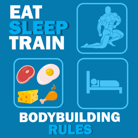 rules: bodybuilding rules concept, vector illustration