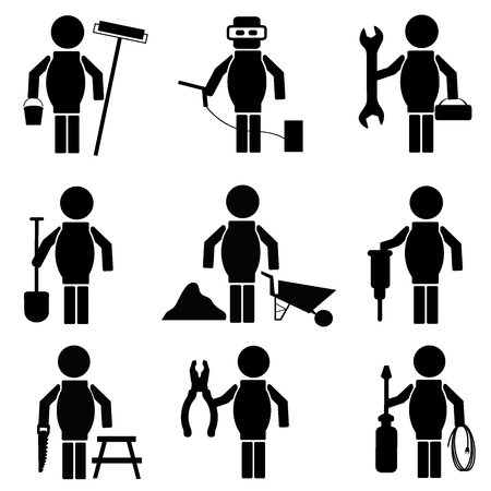 decorating: set of construction icons, vector illustration