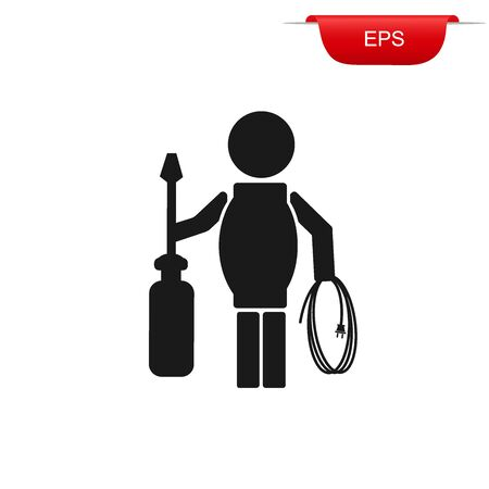 electrician, construction icon, vector illustration