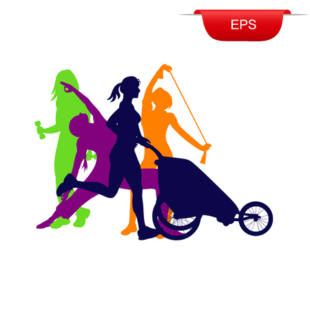 Concepto de fitness, mujer que se ejecuta con el cochecito, icono, ilustración vectorial Foto de archivo - 60849974