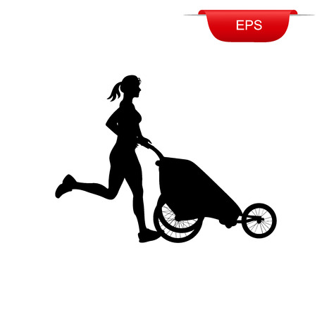 running girl with stroller, fitness, vector illustration, icon