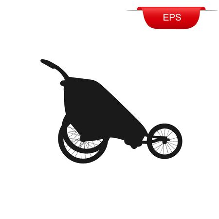 stroller for running, icon, vector illustration