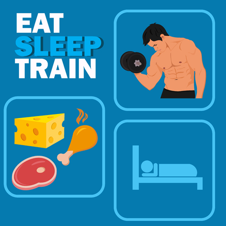 power nap: bodybuilding and fitness rules concept, vector illustration Illustration