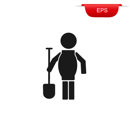 ditch: construction worker with shovel, icon, vector illustration
