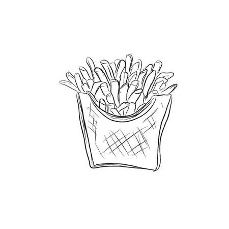 french style: french fries, sketch style, vector illustration Illustration