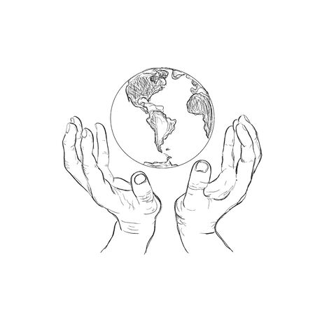 hands holding planet, sketch style, vector illustration