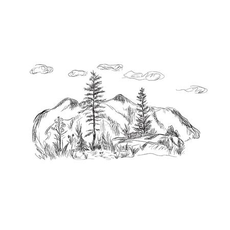 自然、山、スケッチ スタイル、ベクトル イラスト  イラスト・ベクター素材