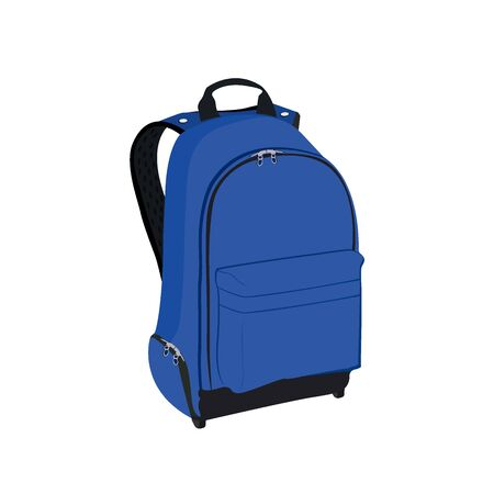 haversack: blue backpack, vector illustration