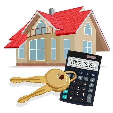 Hypotheken-Konzept, Taschenrechner, Vektor-Illustration Vektorgrafik