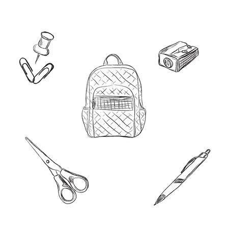 school set, rugzak, potlood, pen, schets stijl, vector illustratie Stock Illustratie