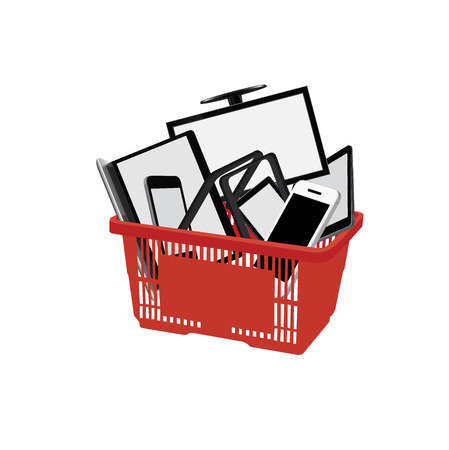 Shopping cart with electronics, flat style vector illustration