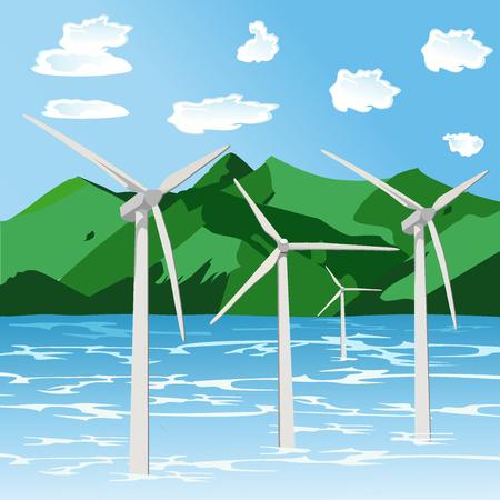 renewable energy, offshore wind turbines, flat style vector illustration Ilustracja